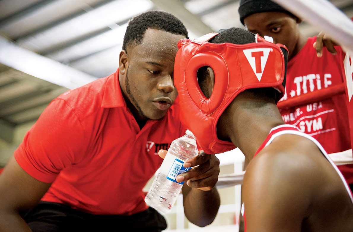 Jimkelly Joseph shares his love of boxing with island youth.