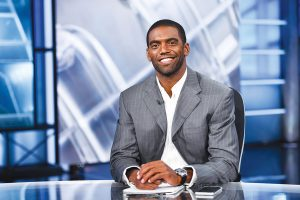Randy Moss signed with ESPN this past July as a commentator for Sunday NFL Countdown and Monday Night Countdown. He will also contribute to the network's annual Super Bowl week coverage. ( JOE FARAONI/ ESPN IMAGES)