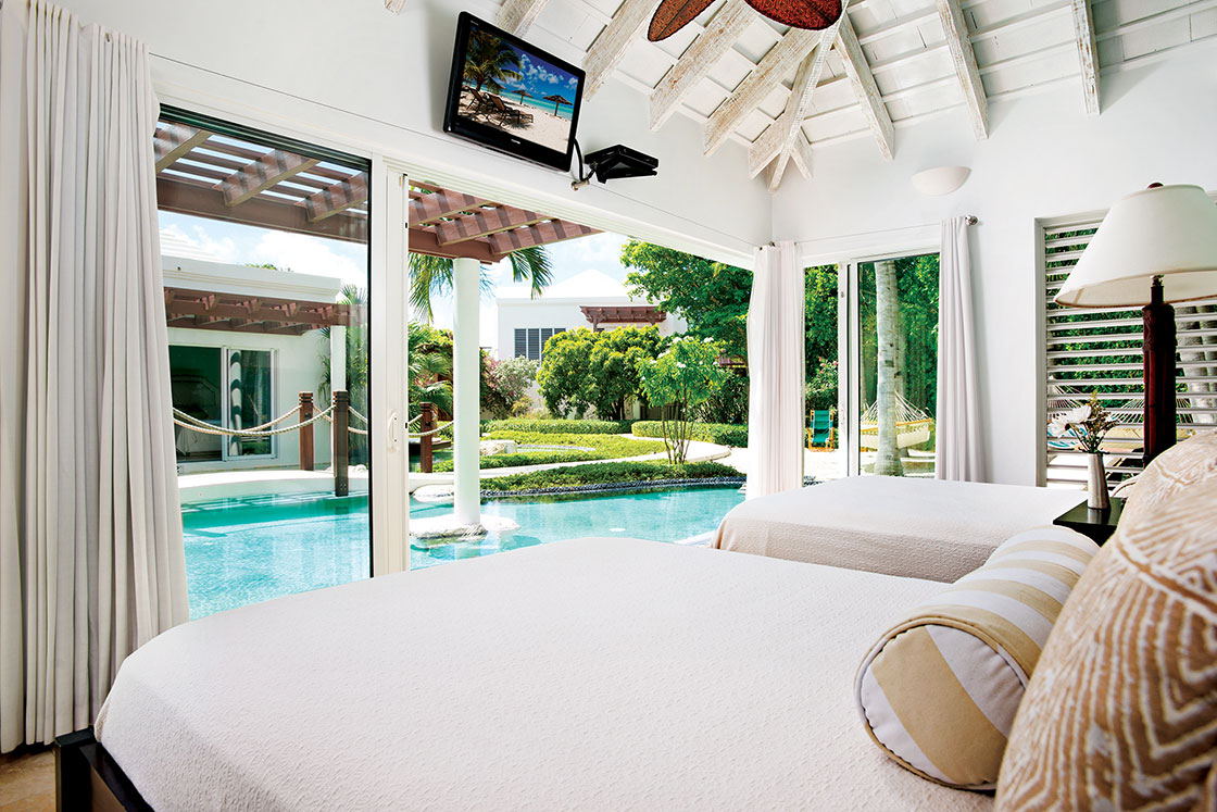 This stunning beachfront villa boasts a total of six-bedrooms.